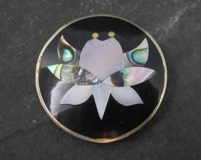 Vintage Alpaca Mexican Inlay Flower Brooch Pendant