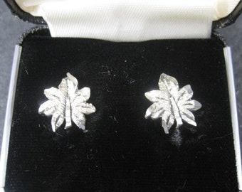 Vintage Langers Black Hills Sterling Silver Leaf Stud Earrings