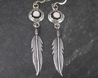 Long Native American Mother of Pearl Feather Earrings