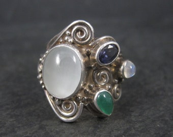 Sterling Sajen Moonstone Iolite Ring Size 7.5