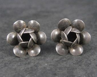 Vintage Sterling Flower Screw Back Earrings