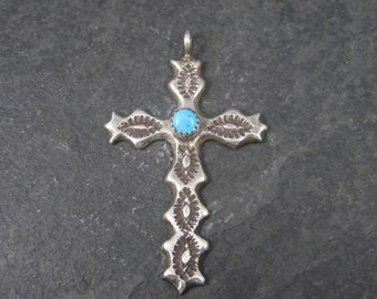 Vintage Southwestern Sterling Turquoise Cross Pendant Signed