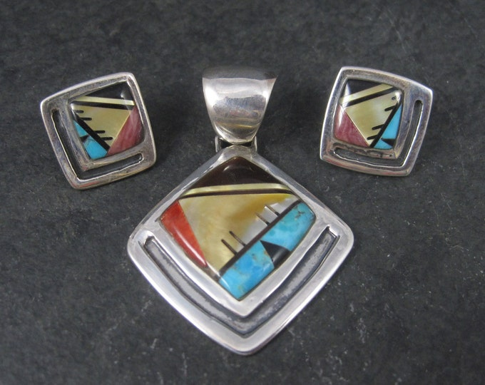 Vintage Southwestern Sterling Inlay Pendant and Earrings Jewelry Set