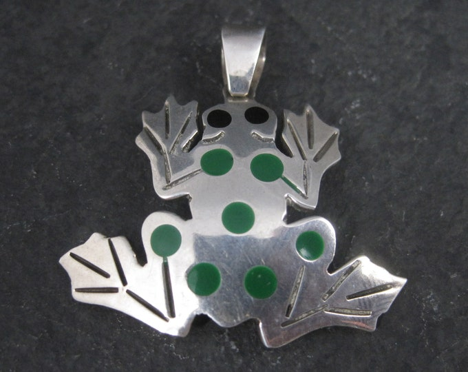 Vintage Mexican Sterling Enamel Frog Pendant