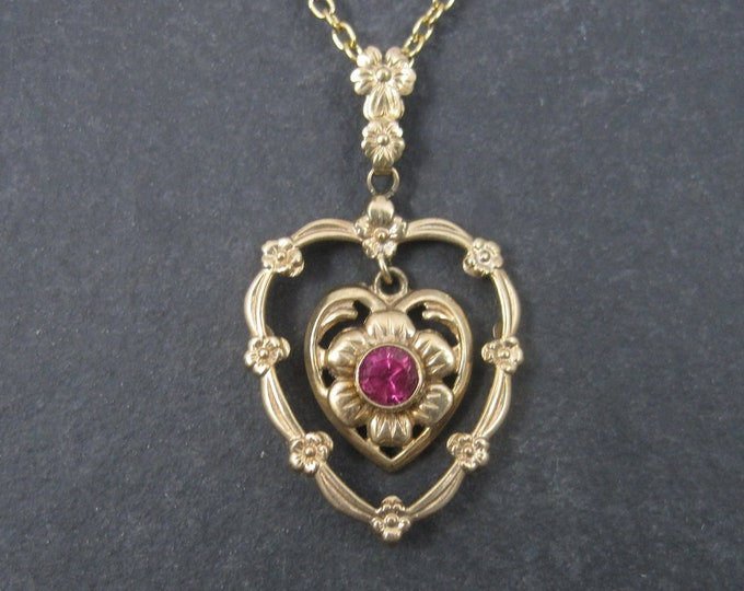 Featured listing image: Antique 10K Ruby Heart Pendant Necklace ESEMCO