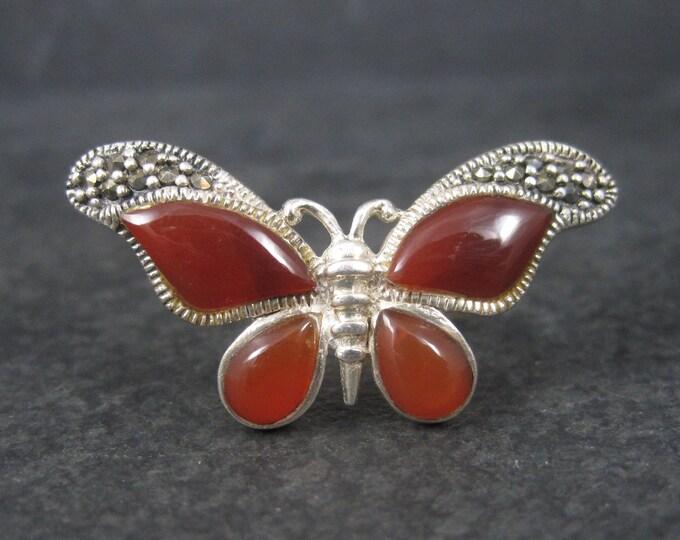 Vintage Sterling Carnelian Butterfly Ring Size 5.75