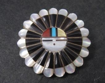 Vintage Southwestern Sterling Sunface Inlay Brooch Pendant