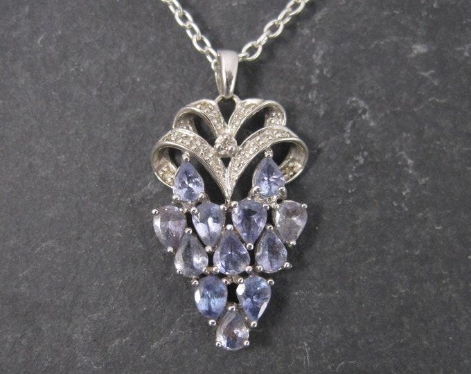 Vintage 90s 10K Tanzanite Diamond Pendant Necklace