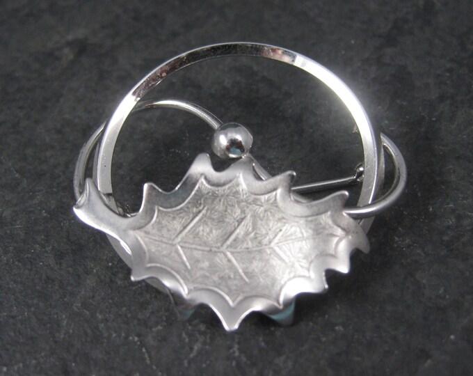 Vintage Reis Sterling Leaf Circle Brooch
