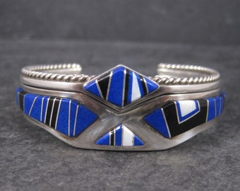 Set of 2 Navajo Lapis Opal Inlay Cuff Bracelets 6 Inches