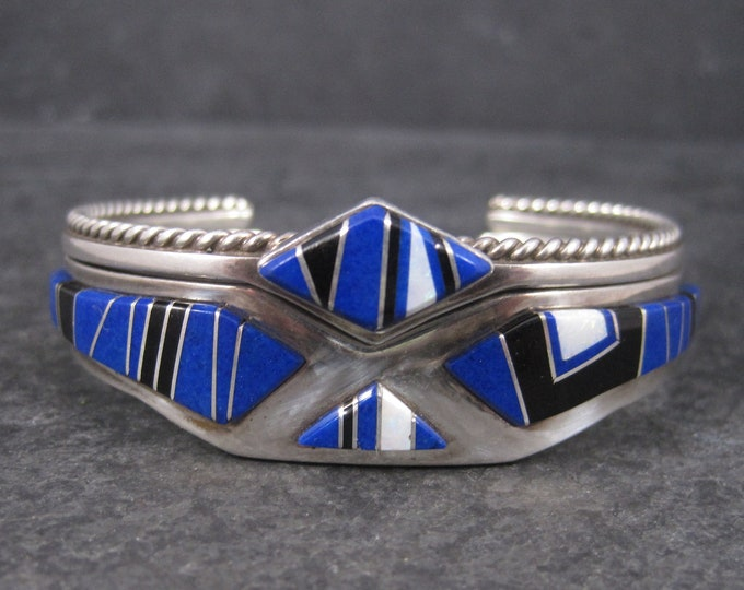 Featured listing image: Set of 2 Navajo Lapis Opal Inlay Cuff Bracelets 6 Inches
