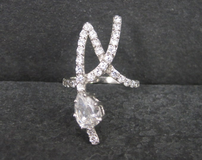 Vintage 90s Sterling Zirconia Initial A Ring Size 6