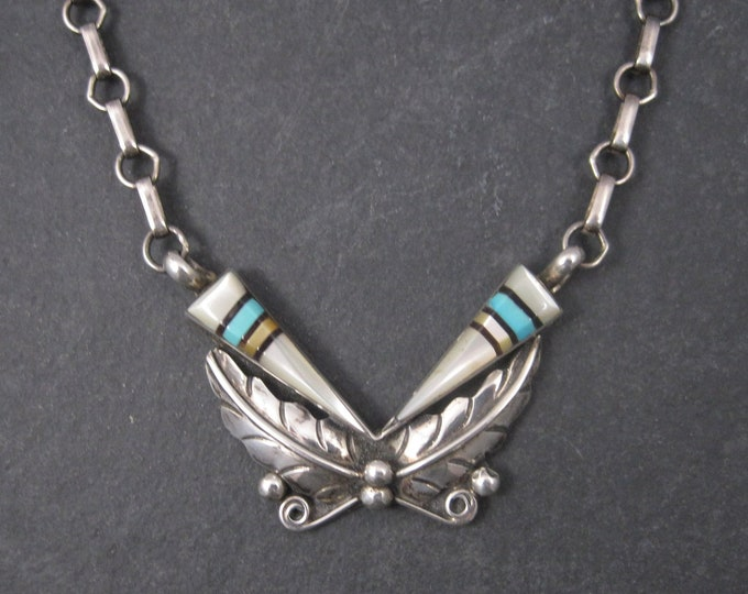 Vintage Southwestern Sterling Turquoise Inlay Feather Necklace