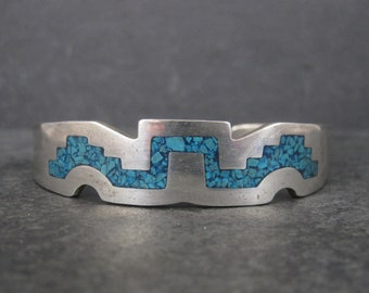 Vintage Mexican Sterling Crushed Turquoise Inlay Cuff Bracelet 6 Inches