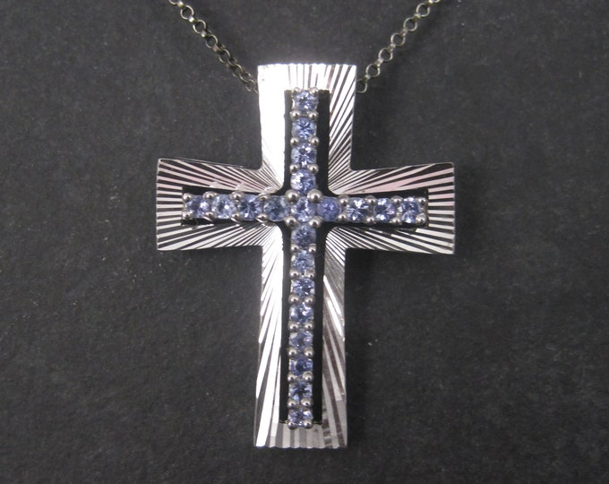 Sterling QVC Cross Pendant with Purple Crystal Stones