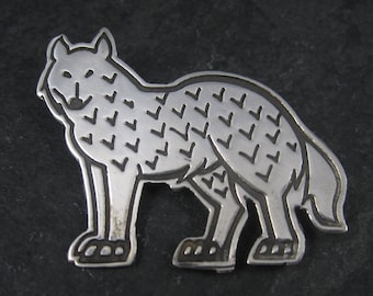 Vintage Mexican Sterling Wolf Brooch Pin
