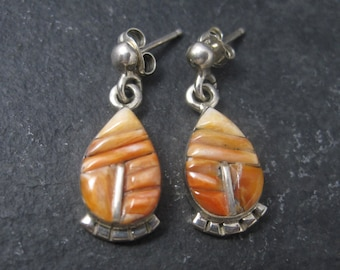 90s Vintage Southwestern Sterling Spiny Oyster Earrings