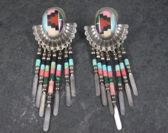 Vintage Southwestern Sterling Inlay Earrings Quoc Turquoise