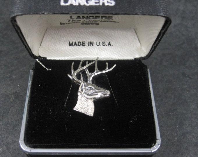 Vintage Black Hills Sterling Silver Deer Head Tie Tack Langers Old New Stock