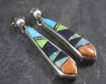 Vintage Sterling Navajo Inlay Earrings Ervin Hoskie