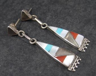 Vintage Southwestern Sterling Inlay Earrings