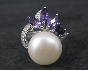 90s Vintage Sterling Pearl Amethyst Iolite Ring Size 7