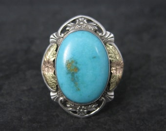 Antique Sterling Silver 10K Turquoise Ring