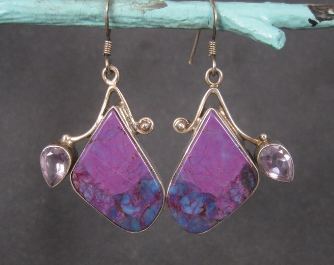 Large Sterling Purple Mohave Turquoise Amethyst Earrings