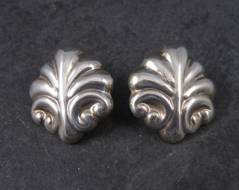 Vintage Mexican Sterling Scrolling Leaf Clip On Earrings