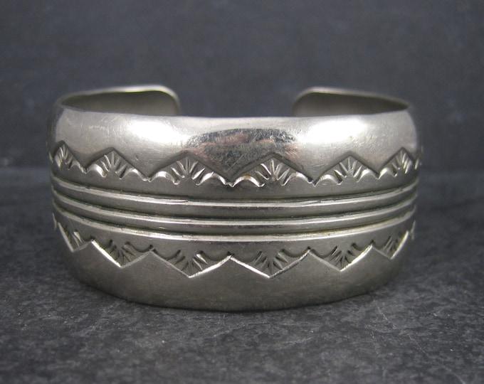 Vintage Southwestern Nickel Silver Cuff Bracelet 6.5 Inches