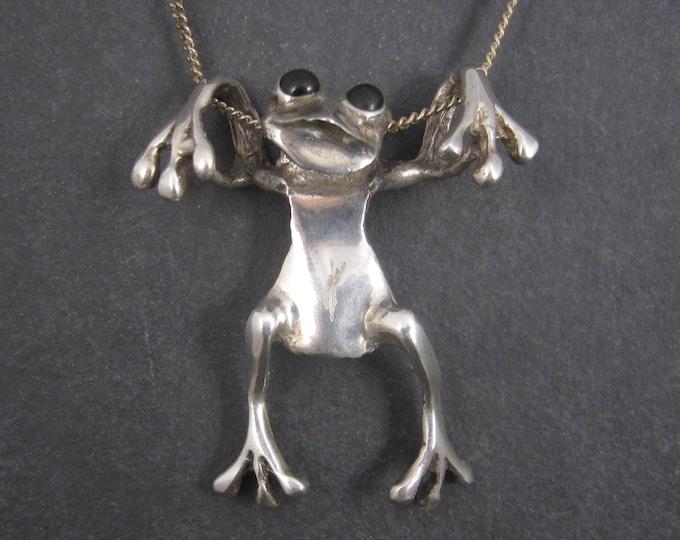 Large Vintage Sterling Frog Pendant Necklace