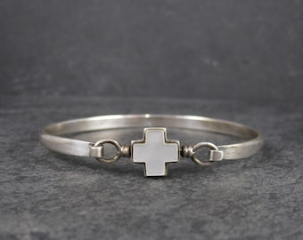 Vintage Sterling Mother of Pearl Cross Bangle Bracelet 7 Inches