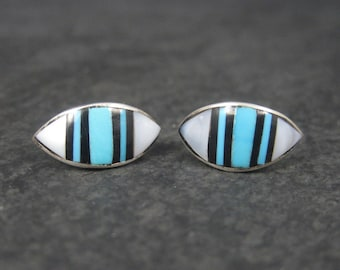 Vintage Southwestern Sterling Mother of Pearl Turquoise Inlay Earrings