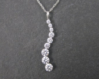Dainty Vintage 14K White Gold Journey Pendant Necklace