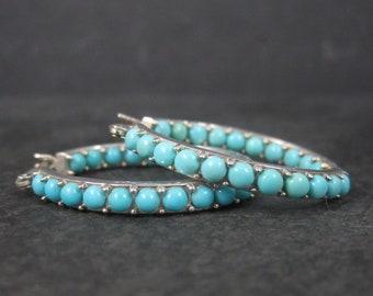 Sterling Turquoise Latch Hoop Earrings