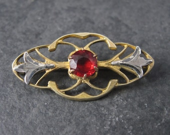 Vintage Two Tone Sterling Nouveau Red Rhinestone Brooch