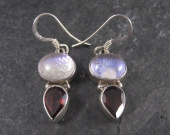 Vintage Sterling Dichroic Glass Garnet Earrings