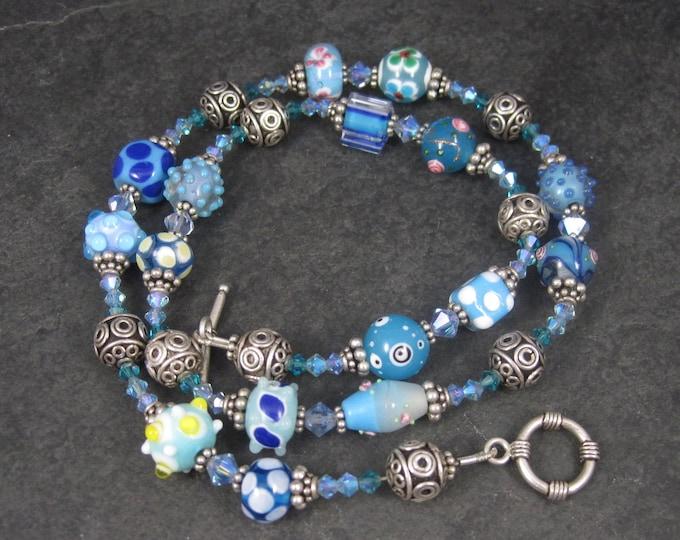 Boho Sterling Blue Lampwork Bead Necklace