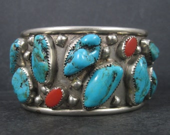 Large Vintage Southwestern Nickel Silver Turquoise Coral Cuff Bracelet 6.5 Inches - Needs Work