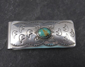 Vintage Navajo Sterling Turquoise Bear Money Clip