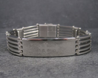 Vintage 90s Stainless Steel Cross Bracelet 8.5 Inches