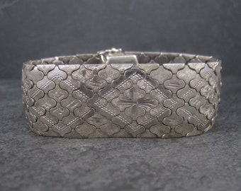 Wide Vintage Italian Sterling Snake Bracelet 7.5 Inches
