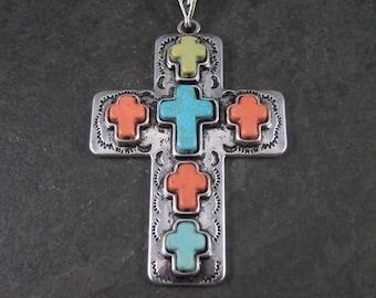 Large Vintage Southwestern Howlite Cross Pendant