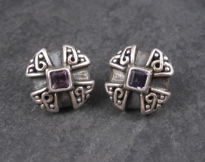 Vintage Sterling Amethyst Earrings