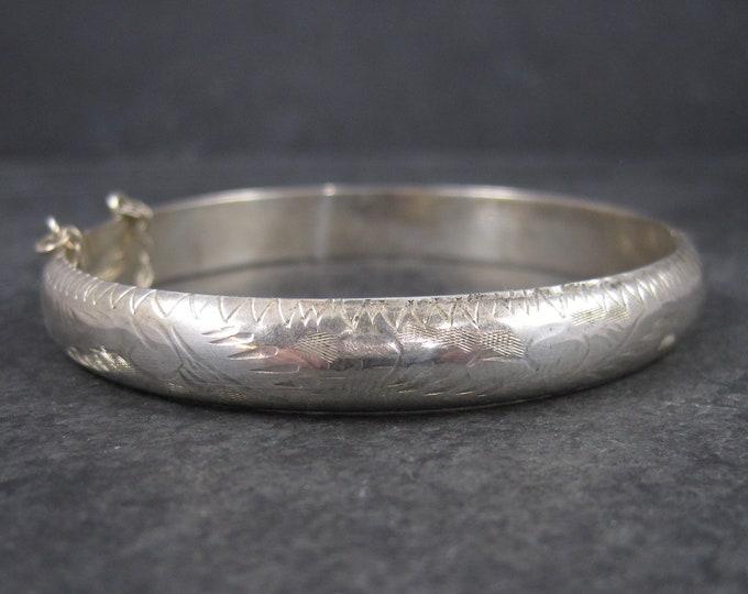 Vintage Sterling Etched Bangle Bracelet 7.25 Inches