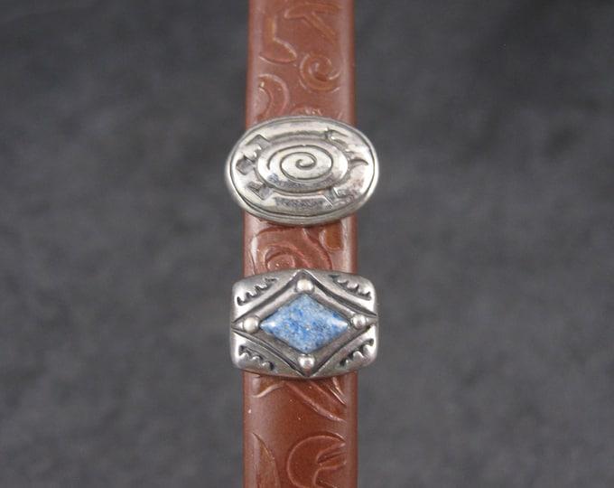 Set of 2 Sterling Southwestern Bracelet Slides Leather Bracelet