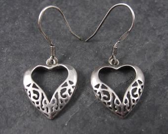 Vintage Sterling Filigree Heart Earrings