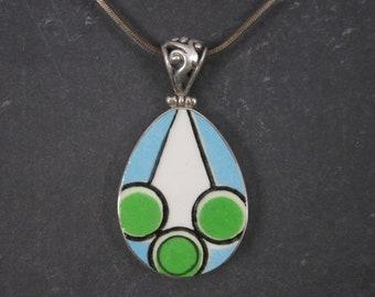 Vintage Sterling Blue Green Geometric Pottery Pendant Necklace