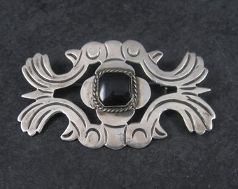 Vintage Mexican Sterling Onyx Bird Brooch