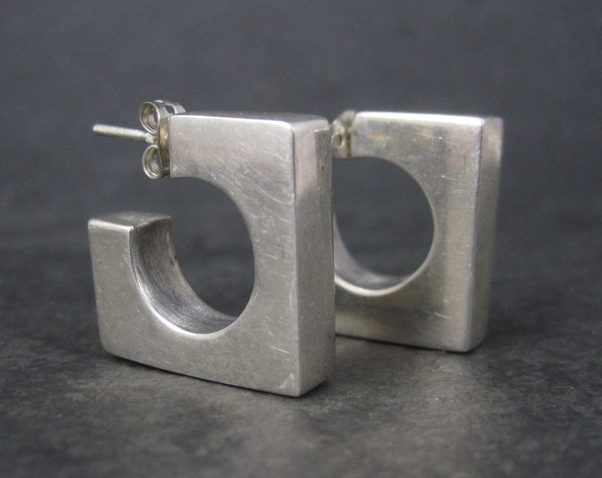 Vintage Sterling Square Hoop Earrings